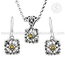 Trendy design citrine gemstone silver jewelry set 925 sterling silver jewelry set indian silver sets exporters