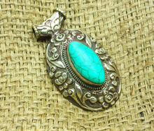 Bohemain Long Turquoise Gemstone Ethnic Tibetan Women For Jewelry Pendants