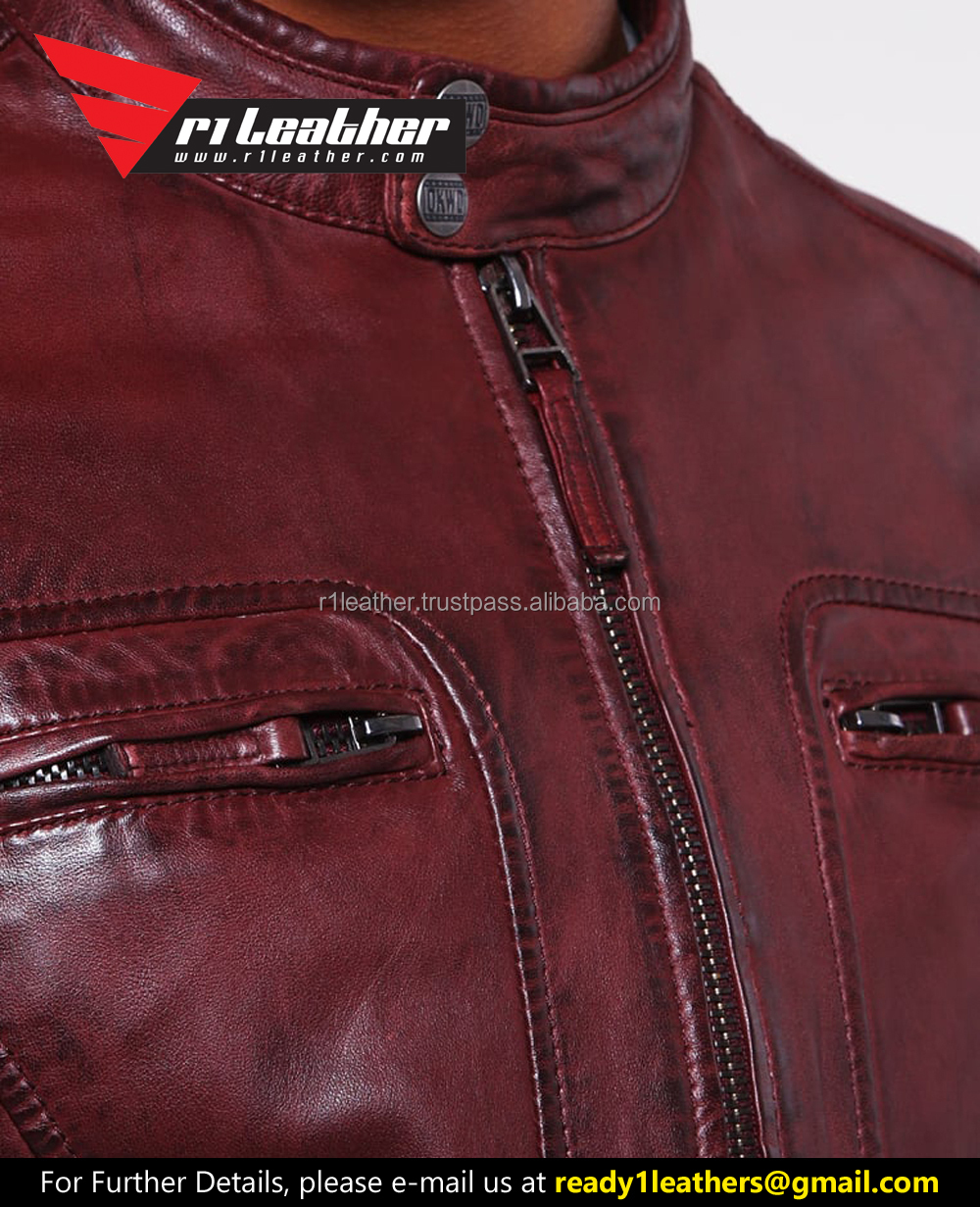 2017 popular men casual slim fit wholesale leather jackets/Black custom motorcycle leather jackets for men