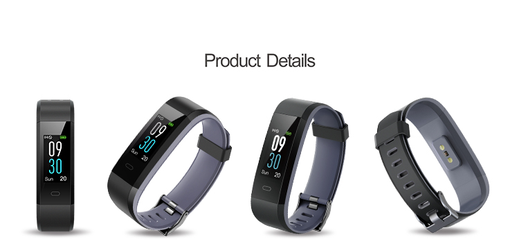 0''96 TFT Color screen fitness tracker smart hear rate band  with built-in charger