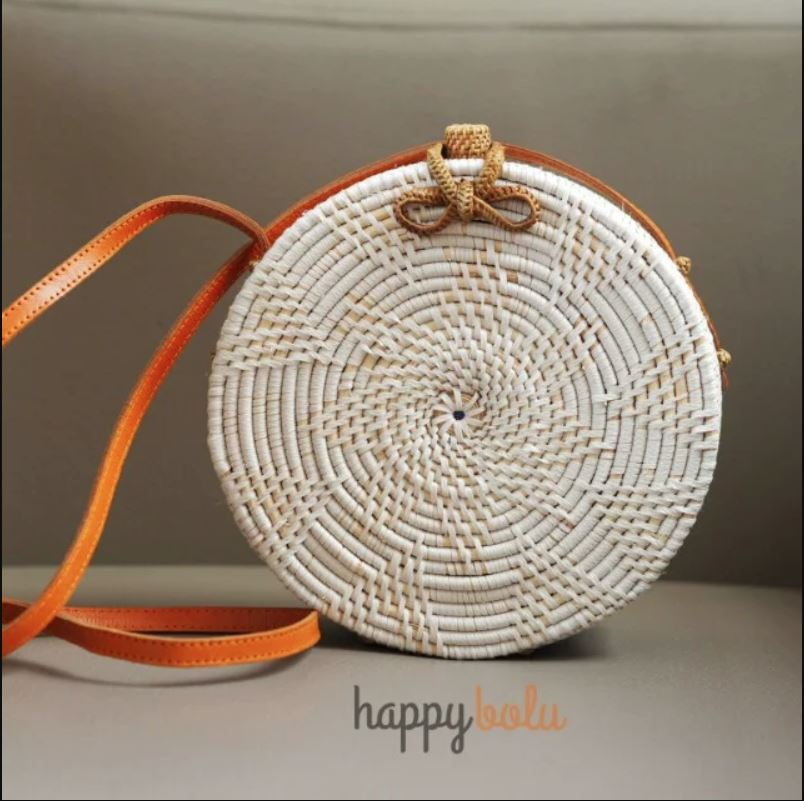 Round Circle White Rattan Bag with Ribbon Lock