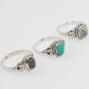 Professional multi gemstone 925 sterling silver ring handmade silver ring jaipur wholesale silver jewelry