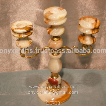 3 Branch Onyx Candle Holder