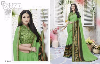 Bikaw Fashion Green Color Georgette Kitty Party Saree Wholesale Rate