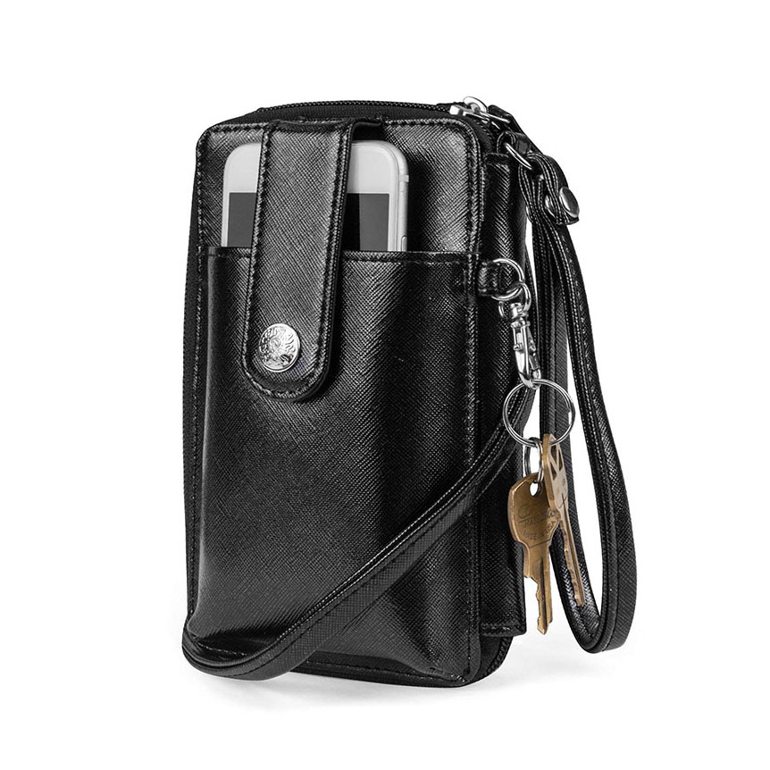 High Quality Popular Vegan Leather RFID Womens Crossbody Cell Phone Purse Holder Ladies <strong>Wallet</strong> With Keychain Clip