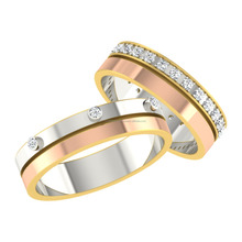 14k Rose Gold Couple Band With Natural Diamond
