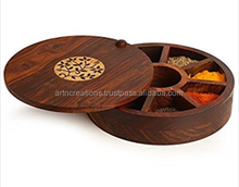 Indian manufacturer wooden partitioned storage round spice box