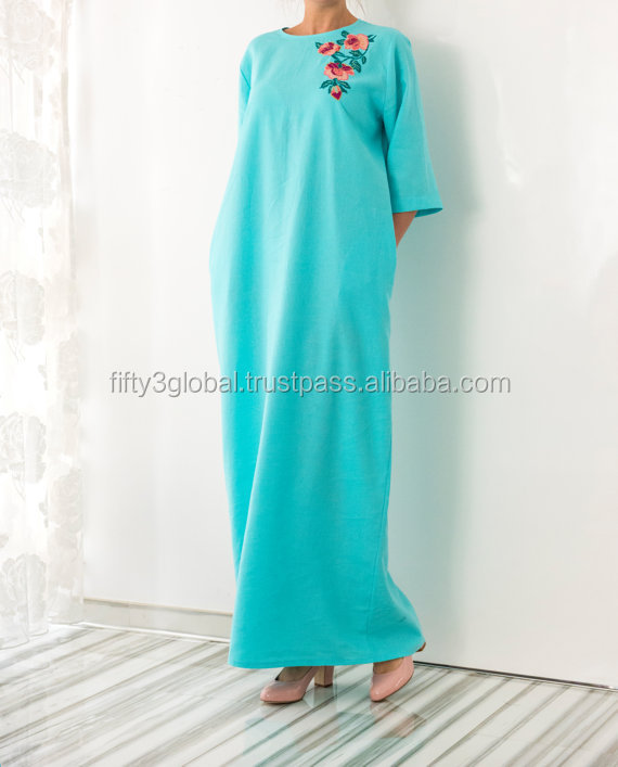 Handmade embroidered turquoise linen Maxi dress Abaya 2017 New Style