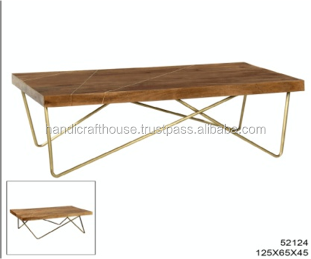 Industrial Brass Inlay Mango Wood with Metal Legs Coffee Table