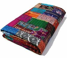 Twin Vintage Quilt Old Patola Indian Silk Sari Kantha Quilted Patchwork Bedspread