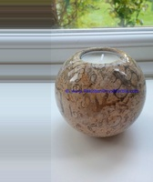Natural stone high quality marble candle holders sphere ball shaped stands tea lights