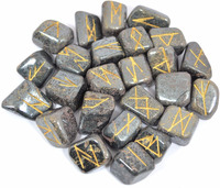 Hematite Rune Set With FREE Bag : Hematite Set Crystal Rune Stone : Wholesale Engraved Stone Runes Healing Set : Crystals Supply