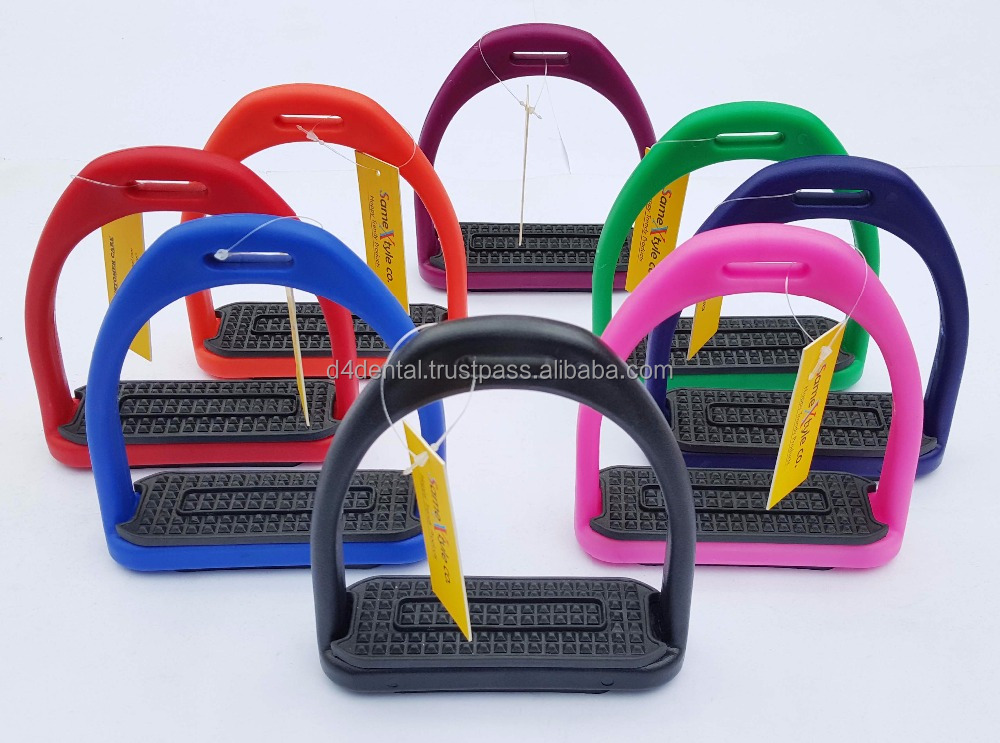 "Horse Riding Racing High Quality Plastic Safety Stirrups 4.75"" New 8 Colors 200KG Limit"
