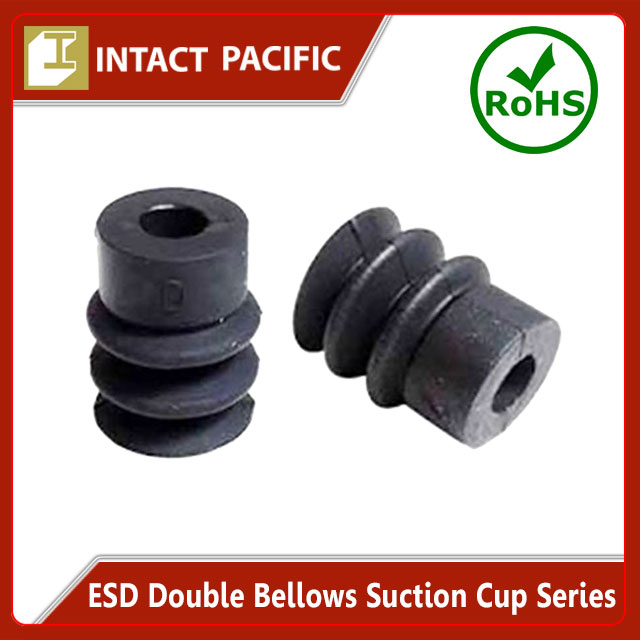 ESD Double Bellows Suction Cup Series High quality for Expert use in Semiconductor Production Black Silicone / NBR Rubber