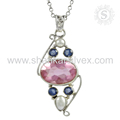 Most beautiful pendant multi gemstone 925 sterling silver pendants jewellery exporter