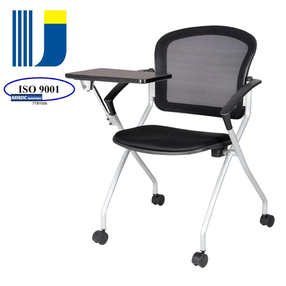 school training foldable chair with writing tablet wheels for seminar/meeting use 3159-5