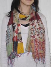 Traditional Printed Scarf Designer Kantha Work Long Neck Wrap Shawl Scarf