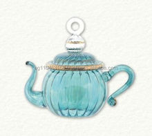 Egyptian Glass Green Swirl Teapot Ornament