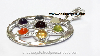 Chakra Star Flower Cut Stone Metal Pendant