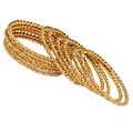 Thread Work With Gold Plating Gold Color Glass Stone Bangle Size: 2.10