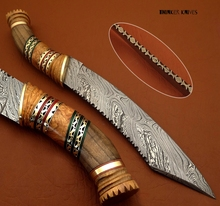 "Damascus steel blade hunting knife "" wood + brass spacer """