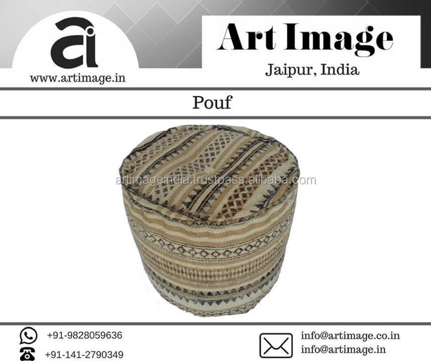 Indian Round Knitted Pouf with Wool Jute Brown-Beige Moroccan pouf ottoman puff at Lowest Rate