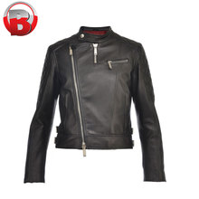 2018 Fashion custom design Black woman lady Moto leather jacket