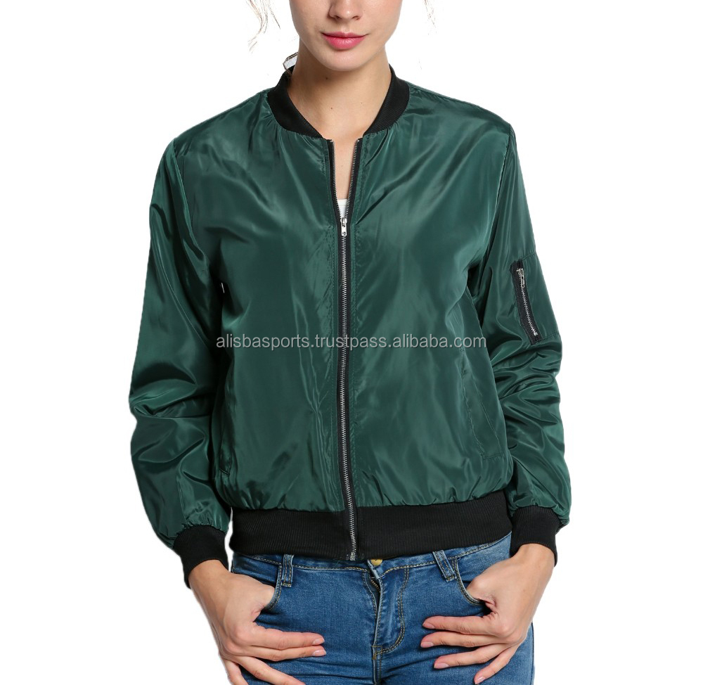 2017 Autumn Thin Women Casual Bomber Jacket Front Zipper Fashion Short Jacket Army