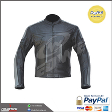Customized Men's Motorcycle Racing Leather Black Color Jacket