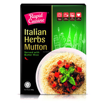 Rapid Cuisine Italian Herbs Mutton Served with Butter Rice