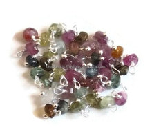 Natural Multi Tourmaline Loose Gemstone 925 Sterling Silver or Silver Plated Wire Wrapped Beads 3-4mm
