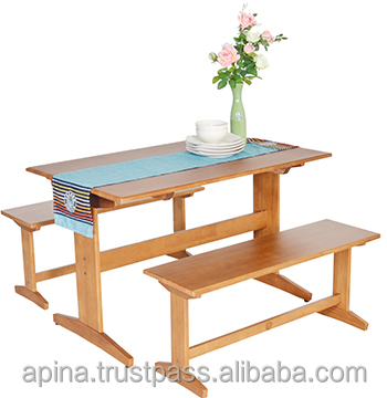 Dining Table and Bench Solid Wood 4 Seats ,Modern Style (YDT- ET120 ,YDC-B55)