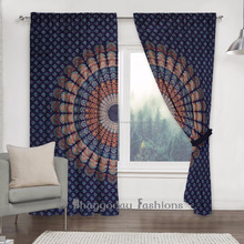 Curtain Living Room Indian Mandala Room Divider Tapestry Panel Drape With Valance 2 Pcs Set Portiere