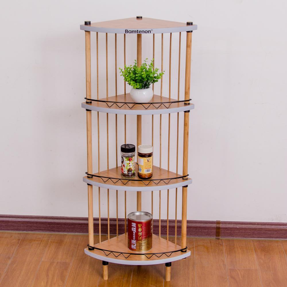 Bamboo corner triangle storage rack/shelf