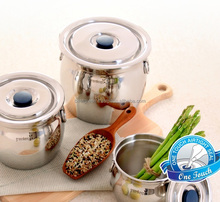 All Stainless Steel Air-tight Food Container( Crock Type ) Made in Korea Spotless Hinge Lock acquiring patent