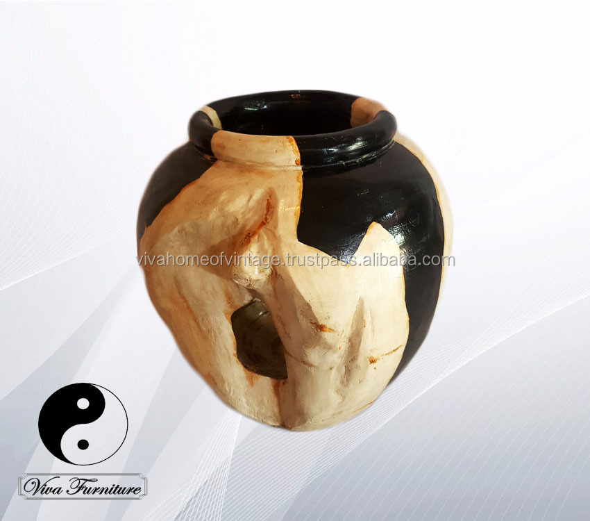 "Wooden Vase Guci Medium petrified look/ fossil replica hand painted color ""Black and Sand"""