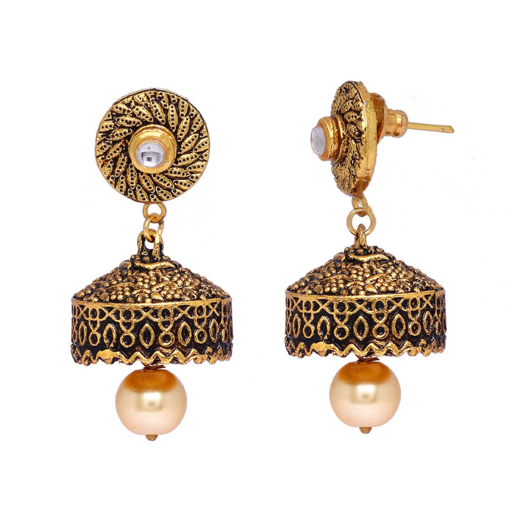 Daily Wear Gold Plated Kundan Studded Jhumka Earrings For Girls & Womens