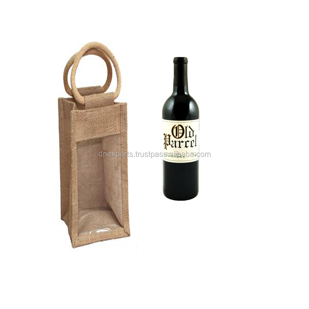 Single Wine Bottle Packing Jute tote bag