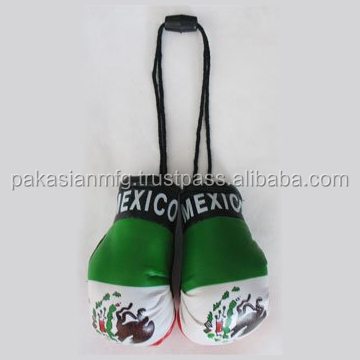 Car Hanging Mini Boxing Gloves - Mexican Country Flag Keyrings - Custom Logo Keychain