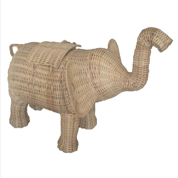 Handcrafted Rattan Custom Design Storage Decorative Elephant 1