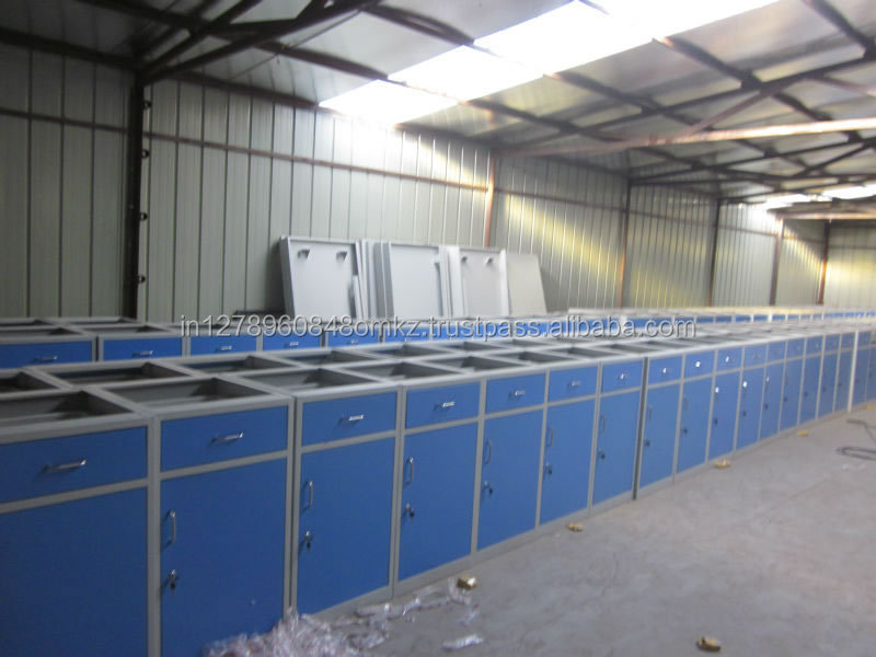 Laboratory Tables with sink chemical storage racks