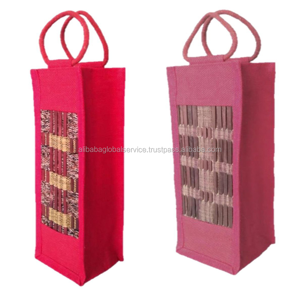 100% Exportable Beautiful Strong Jute Bottle Bags with High Quality