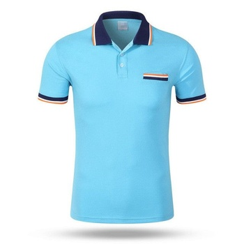 Short sleeves light blue color custom fashion polo t shirts