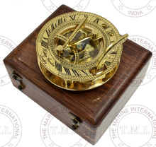 Wholesale Brass Round Sundial Compass with Box ~ Brass Marine Sun Dial Compass Manufacturer ~ Nautical Gift