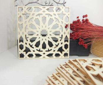 White Wedding MDF Laser Square Coaster Moroccan Design Cutting