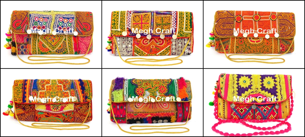 Vintage Banjara Clutch Purse-Colorful Patch work Embroidered Clutch Purse -Mirror work rabari clutch