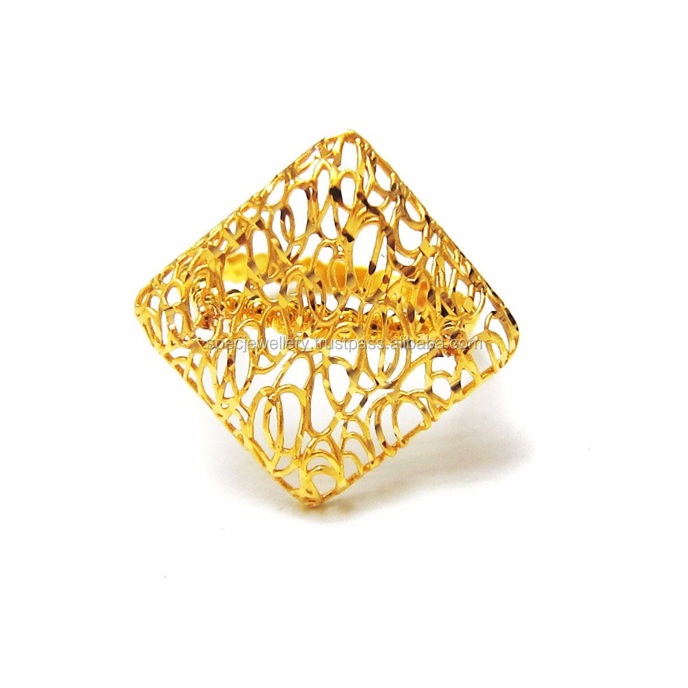 Dubai Middle East Arabic Fashionable Jewellery Light Weight 18k 21k 22k Fine Yellow Gold Ring