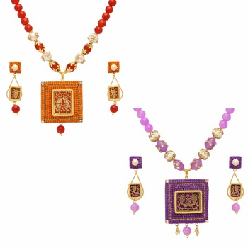 Jaipur Mart Gold Plated Orange & Purple Color Colored Glass Stone, Color Beads, Pearl Necklace With Earrings Combo Of 2 Pieces