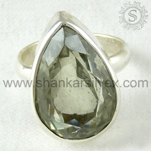 Exclusive green amethyst silver ring gemstone jewelry 925 sterling silver rings jewellery wholesale supplier