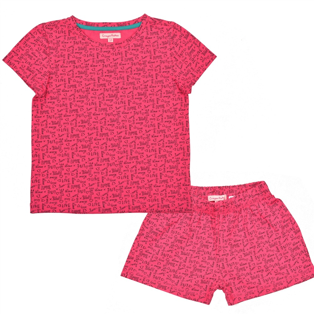 Crayonflakes Kids Wear Girls With Love Printed Knit Night Suit Pink